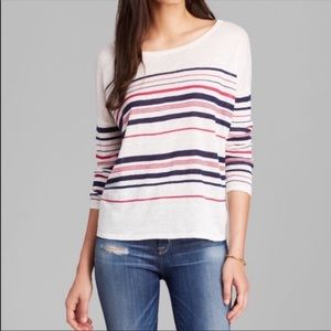 Joie soft linen knit top white navy red stripe S